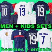 Euro 2020 Copa Benzema Mbappe Griezmann Francia Fútbol Jersey Pogba Giroud Kante Maillot De Foot Equipe Maillots Camisa de Fútbol Uniformes La 2021 Hombres + Kit Kids