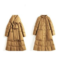 Female Winter Long down jacket Plus size Puffer Womens stand-up collar scarf fashion high-quality Cold protection Coat XL