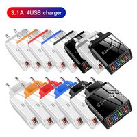 5V3A Fast Power Adapter USB Cables 4USB Ports Adaptive Wall Charger Smart Charging Travel universal EU US Plug opp pack Top Quality