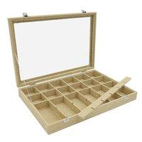الحقائب المجوهرات، أكياس 24 شبكة الكتان مربع للإزالة عرض خواتم تخزين أقراط بروش أزرار خمر المنظم الزجاج الأعلى ث