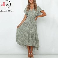 Casual Dresses Women Summer Green Floral Print Long Dress 2021 Flying Sleeve V Neck Boho Beach Maxi Sundress Sashes Robe Vacation Outfit