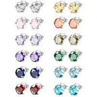CZ Stud Earring 30% Silver Plated Colorful Round Cubic Zirconia Crystal Earrings For Women Girls Wedding Party Gifts 6mm