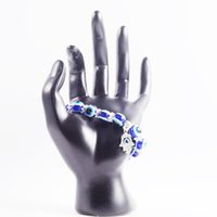 Commercio all'ingrosso fortunato fatima hamsa mano blu maligna occhio charms braccialetti braccialetti perline pulseras turco per le donne 2018 nuovi gioielli 664 q2