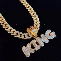 Pendant Necklaces Men Women Hip Hop KING QUEEN Letter Necklace With 13mm Miami Cuban Chain Iced Out Bling HipHop Fashion Jewelry