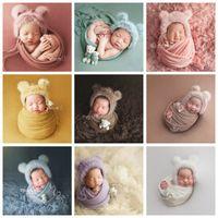 3 teile / satz Neugeborenen Infant Fotografie Wraps Gestrickte Baby Jungen Mädchen Foto Requisiten Faux Pelzhut Starke Stretchdecke Bär Puppe 1177 Y2