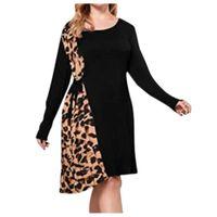 Осень зимние женские платье леопард напечатанные лоскутное футболку платье плюс размер с длинным рукавом повязки платья вечеринки Vestidos de Mujer