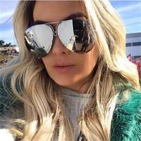 النظارات الشمسية الأسود الطيار النساء الرجال سير مرآة المتضخم المعادن الفاخرة أنثى كبير التدرج ظلال نظارات uv400a517