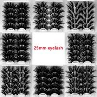 25 ملليمتر متطرف طويل وسميكة فو المنك الرموش يدوية قطاع كامل الرموش العين 8 أنماط 5pairs / مربع
