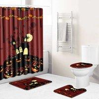 WUJIE Waterproof Shower Curtain Set Pedestal Rug Toilet Seat Cover Anti Slip Bath Mat Pumpkin Print Bathroom Set Holloween Decor H0910