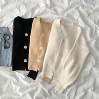 Kadın Ceketler Ctrllock Yumuşak V Boyun Tek Göğüslü Kadın Örme Hırka Kazak Sonbahar Katı Renk Kısa Gevşek Uzun Kollu OU