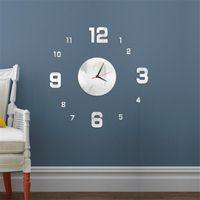 Wall Clocks 2021 Home Decor Clock 3D Acrylic Mirror Sticker Mute Diy Big Size Quartz To Decorate Living Room Office