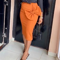 Женщины высокие талии юбки Bodycon карандаш офисные дамы с большой бабочкой весна летние африканские скромные элегантные ретро Jupes Falad Saia