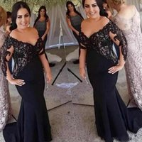 Modest Black Mother Of The Bride Dresses Sheer Scoop Neck Long Sleeves Lace Top Satin Mermaid Evening Gowns For Wedding Women