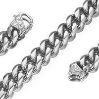 15mm Üst Tasarım Paslanmaz Çelik Gümüş Renk Curb Küba Zinciri Trendy Takı Erkek Bayan Kolye veya Bilezik 7-40 inç İsteğe Bağlı Zincirler
