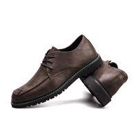 2021 Erkekler Elbise Ayakkabı Örgün İş Deri Ayakkabı Kore Trendy İngiliz Tarzı Kahverengi Haki Boyutu 38-44 Kod 66-1717