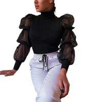 Women's Blouses & Shirts Fashion Womens Ladies Party Jumper Mesh Lace Blouse Polka Dot Shirt Pullover Tops Baggy Tunic Club Turtleneck Elega