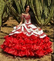 Red Charro Quinceanera Dresses Mexican 2020 Ruffled Floral Off Shoulder Puffy Skirt Lace Embroidery Sweet 16 Girls Masquerade Prom Gowns