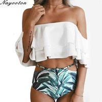 ملابس نوتوون نساء قطعة ملابس السباحة قبالة الكتف الأبيض منزعج تنقل بيكيني مجموعة عالية مخصر المايوه S-XXL