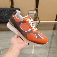 Убегать кроссовки замшевые теленки кожаные лоскутные оранжевые мужские ботинки Ebene Comet-Trail на боковом бегуне роскоши дизайнерские кроссовки тренеров повседневная обувь