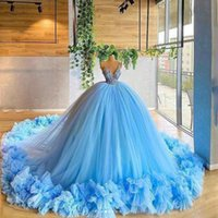 Sky Blue Princess Ball Gown Quinceanera Dresses Lace Applqiues V Neck Sweet 16 Prom Dress Party Wear robes de demoiselle
