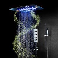 음악 샤워 시스템 욕실 수도꼭지 비 설정 스테인레스 스틸 천장 LED 샤워 헤드 숨겨진 믹서 온도 조절 밸브 세트