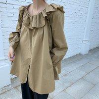 Дунайский осень корейский стиль один плечо женские блузка твердое оборащенные нежные сладкие длинные рукава все матча женские рубашки женские блузки