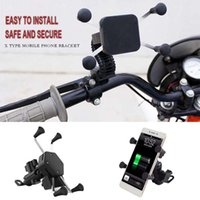 Cell Phone Mounts & Holders Chargeable Motorcycle Holder Universal 2 In 1 USB Bracket Motorbike Roating Mount Mobile Rearview Mirro Stand