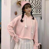 Women's Hoodies & Sweatshirts Sweet Women Knit Hoodie Long Sleeves Hooded Pink Fleece Short Cut Fashion Lady