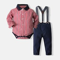 Boys Clothing Sets Kids Suits Infant Outfit Baby Clothes Long Sleeve Striped Rompers Jumpsuit Suspenders Trousers Pants 2Pcs Gentleman Birthday B7276