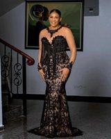 Abiti da sera pizzo nero Donne Plus Size Maniche lunghe Mermaid Aso EBI Prom Dress Appliques Appliques su misura Abito da Sud Africa