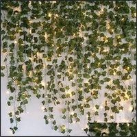 Декоративные праздничные принадлежности Home Gardendecorative Цветы венки 2. Искусственный Creeper Зеленый лист плющой лозы с 2 м светодиодных светильников