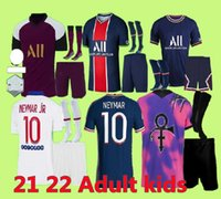 Maillots de Fútbol 21 22 Mbappe Kean Soccer Jerseys Top Men and Kids Sets Verratti 2021 Marquinhos di Maria Paris Cuarta camisa