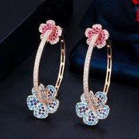 Hoop Huggie Designer Elegant Micro Pave Blauw Rood CZ Licht Goud Kleur Grote Ronde Bloem Oorbellen Voor Dames Sieraden Gift CZ810
