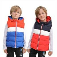 Enfants Vest Baby Winter à capuche pour garçon enfants Vêtements d'extérieur en coton rembourré gilet gilet manteau 3 10 ans
