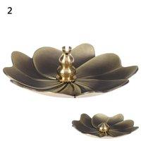 Fragrance Lamps 1PCS Flower Shape Home Incense Holder Alloy Furnace Plate Stand Metal Lotus Backflow Burner Perfume