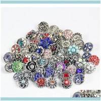 Bracelets bijoux100pcs rétro 18mm métal strass style mixte bijoux de bricolage adapté à noosa snap bout boutonné bracelet bracelet X9YKC Drop Deliver