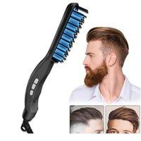 متعددة الوظائف الرجال فرشاة الشعر اللحية مستقيم الشعر استقامة بكرة مشط كهربائي الشعر الطراز أدوات multifucti jlllsl