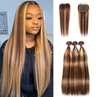 Ishow Highlight 4 27 Human Hair Bundles Wefts With Closure Straight Virgin Extensions 3 4pcs Colored Ombre Brown for Women 8-28inch Brazilian Peruvian