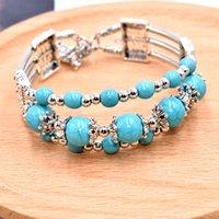 Armband Jiasha National Turquoise Dreischichtige Schmuck JSB809