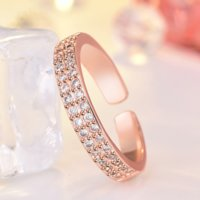 Double Row Cubic Zirconia Ring Band finger Rose Gold Iced Out Adjustable Chunky Rings for Women Men Couple Engagement Wed Fashion Jewelry Will and Sandy
