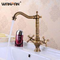 Torneiras da pia do banheiro Wanfan Bacia antiga dupla dual faucet 360 girar giro e água fria Torneira para HJ-6713F