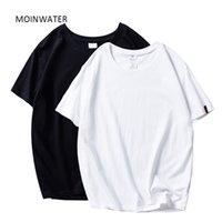 Moinwater 2021 novas mulheres camisetas 2 peças / pacote Sólido casual 100% algodão confortável camisetas senhora Tees de manga curta tops