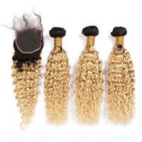 شقراء أومبير ماليزية الشعر حزم موجة المياه مع إغلاق # 1B 613 أومبير الرطب ومائج الإنسان ينسج الشعر 3 حزم مع الدانتيل إغلاق 4x4