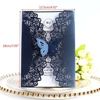 Greeting Cards 10pcs set Glitter Cut Lace Wedding Invitation With Butterfly Bow For Bridal Shower Engagement Birthday Party