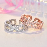 Hollow Diamond Chain Ring Band Finger Rose Gold Open Adjustable Chunky Rings for Women Girls Engagement Wed gift Fashion Jewelry