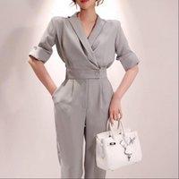 Одноимирри женские розыгрыши летние дамы с коротким рукавом сплошные комбинезоны костюм V-образным вырезом Офисная одежда Случайные женщины Slim Fit Grey Plisesc