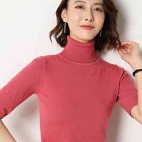 Spring summer new Short sleeve Cashmere sweater womens loose turtleneck knit bottoming shirt female pullover tops