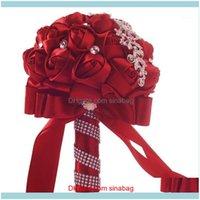 Flores decorativas guirnaldas festivas festivos suministros para el hogar Gardenhandmade de lujo de cristal de cristal rosas con flor de novia ramos de seda bri