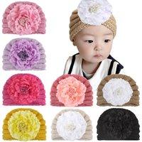 Infant Baby Hat Flower knitting Headwear Children Toddler Kids Indian Caps Turban winter Soft Comfortable Crochet Hats 8 Colors Z4281