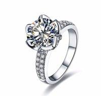 حقيقي الصلبة 925 فضة خواتم الزفاف للنساء رومانسية زهرة شكل البطانة 3 قيراط الماس خاتم الخطوبة DFF1145